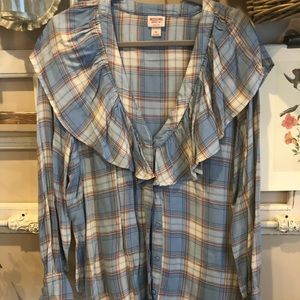 Mossimo Plaid Ruffle Top NWT Sz XL